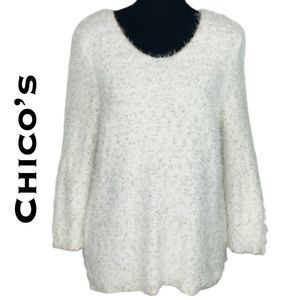 Chico's Ivory Gold Eyelash Sweater Size 1/S
